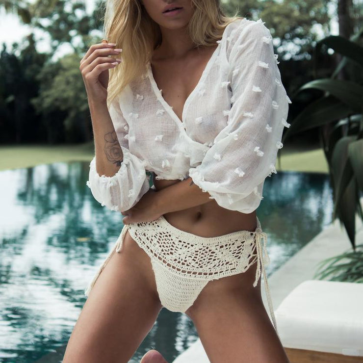 Sexy Plain Transparent V Collar Bikini  Blouse