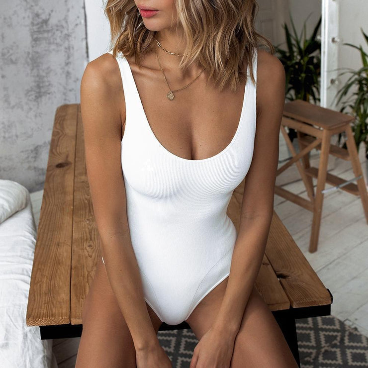One-Piece Swimsuit Solid Color Stitching One-Piece Bikini