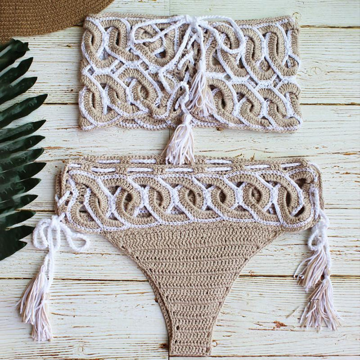 Sexy Crochet Lace Up Bikini