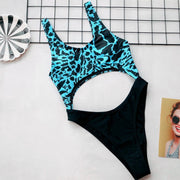 Round Neck Leopard Printed Plain Swimsuit