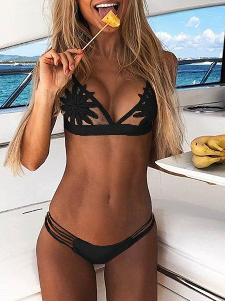 Lace Cut Knit Bikini
