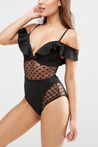 Sexy Lace V Neck One Piece Swimsuit