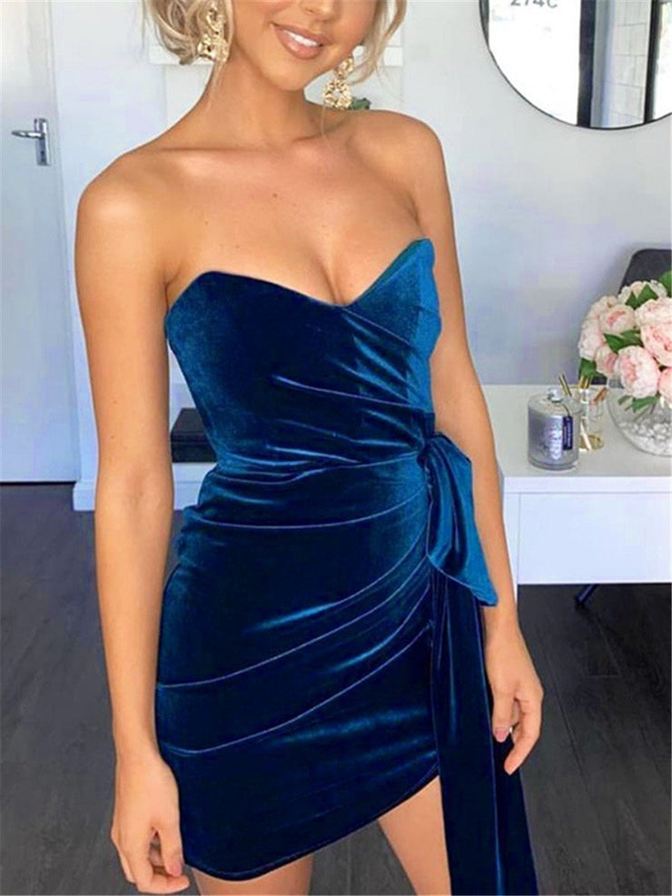 Sexy Slim Tube Top Solid Color Mini Dresses
