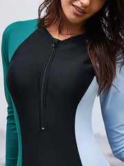 Long Sleeve Contrast Stitching Zipper Wetsuit One-pieces Swimwear