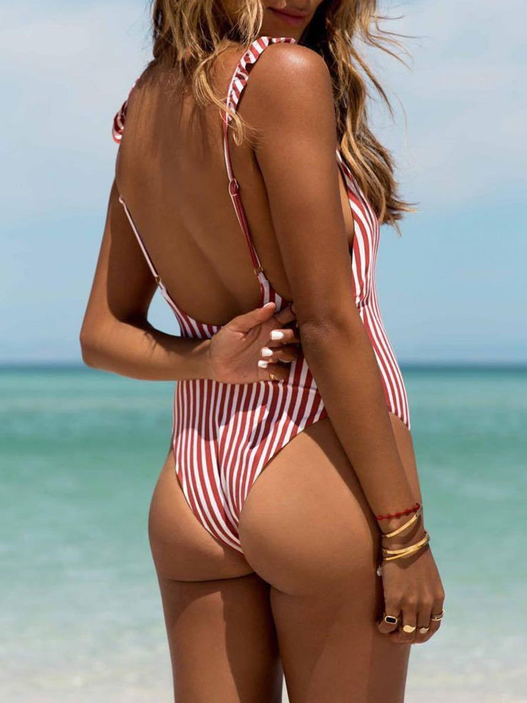 Striped Lotus Leaf One-Piece Swimsuit