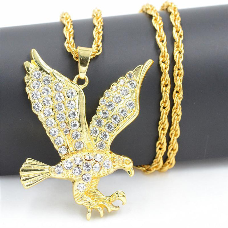 Hip Hop Eagle Shaped Rhinestone Necklace
