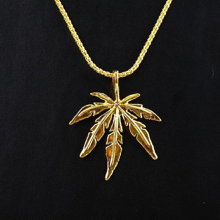 Fashion Hip Hop Maple Leaf Pendant Necklace