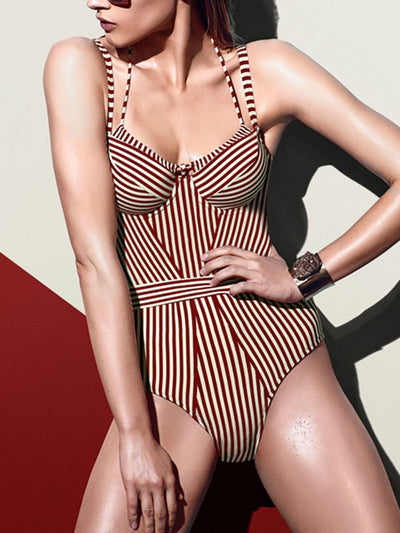 Fashion Sexy Striped Sling One Piece Swimsuit