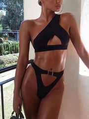 Sexy Split Swimsuit One Shoulder Black Bikini