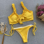 Pure Color Lace Up Beachwear Bikini