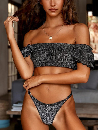 Sexy Solid Color Pleated Sleeve Bikini