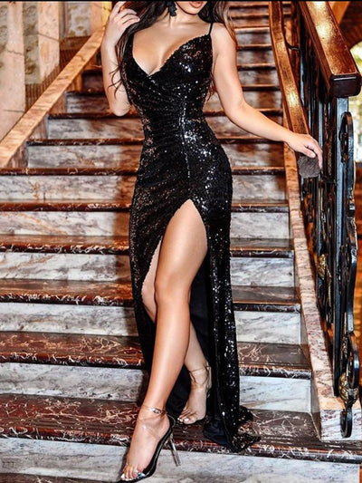 Sexy Strap Sequin Evening Dress
