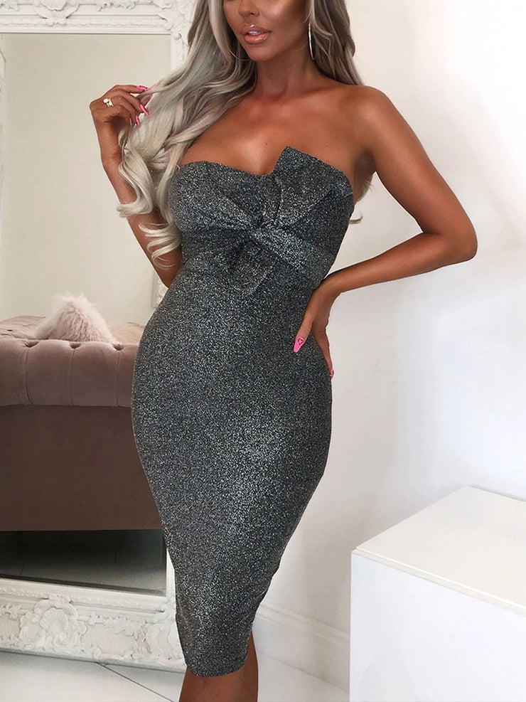 Collar Silver Bow Dress Dresses