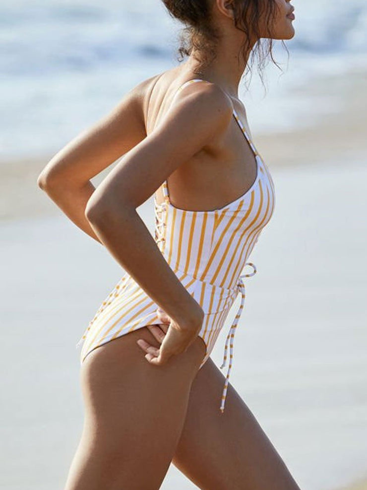 Yellow Striped Sexy Backless Banded One Piece Swimsuit