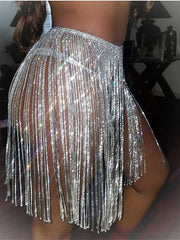 Shiny Fringed Skirt