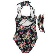 Floral Printed Flounce Halter One Piece