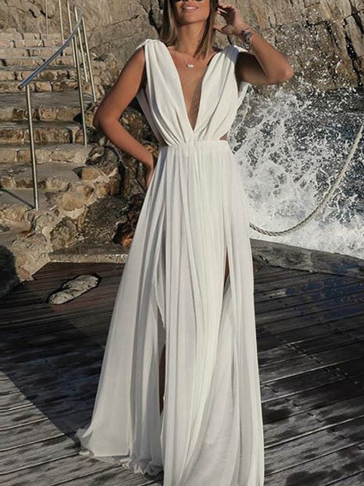 Chiffon Deep V Sleeveless Evening Dress