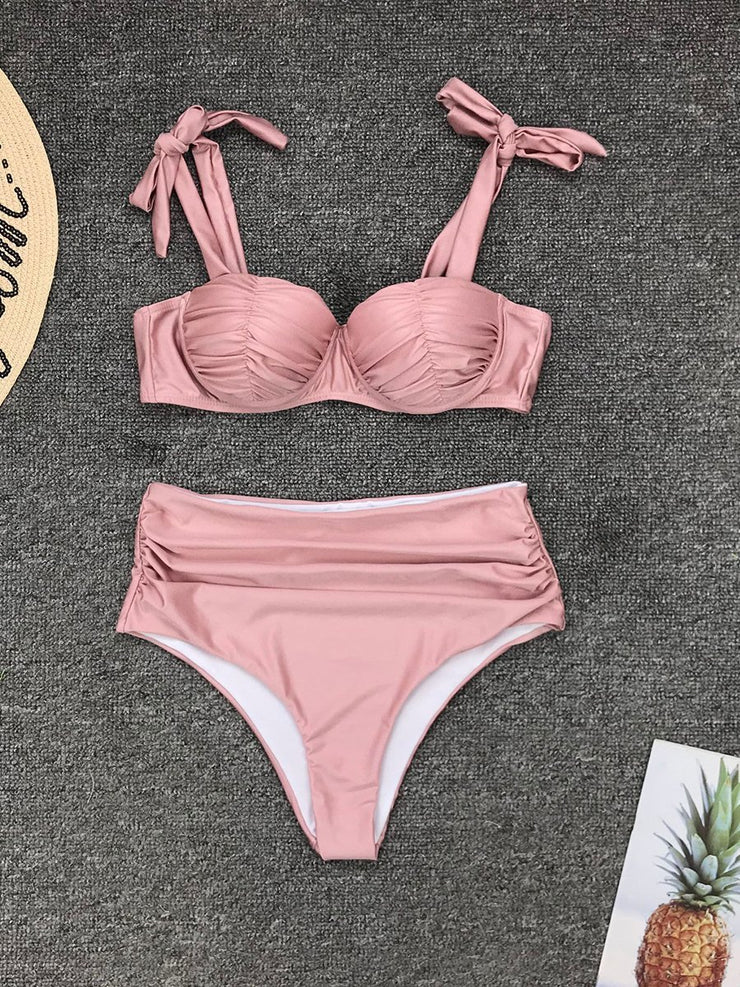 Sexy Pleated Solid Color High Waist Split Bikini