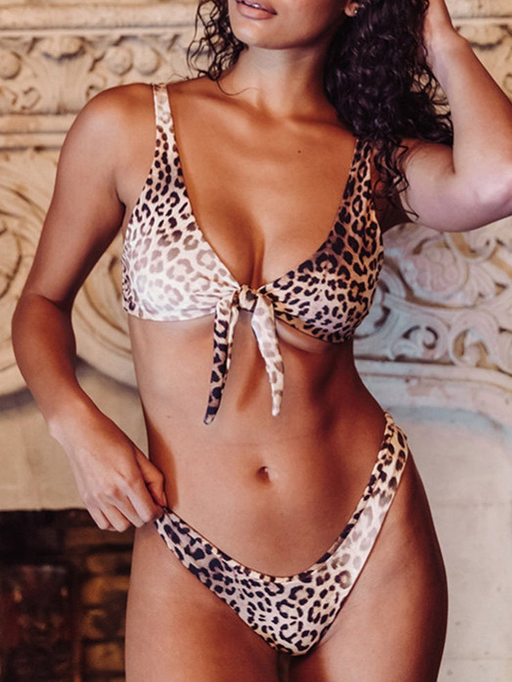 Women's Sexy Leopard Print Split Swimsuit