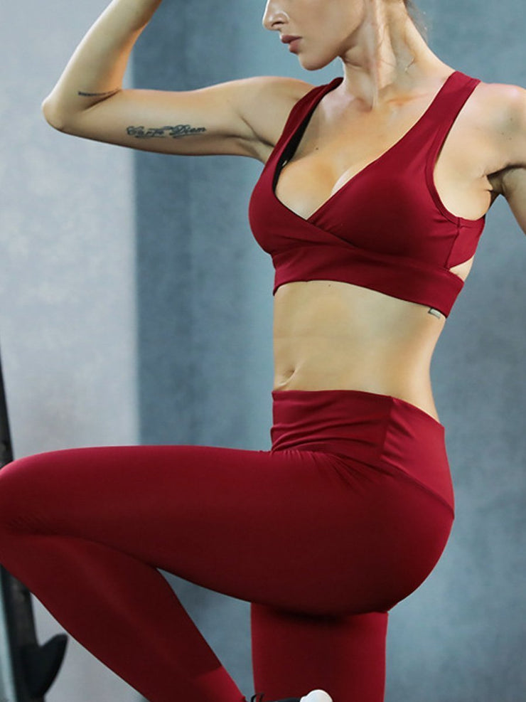 Solid Color Moisture Wicking Yoga Set