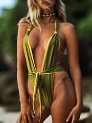 Sexy Contrast Color Double Sided Belted One Piece