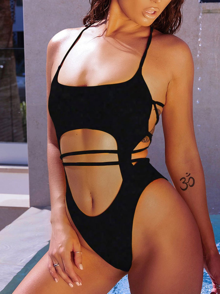 Solid Color Cutout Bandage One Piece Swimsuits