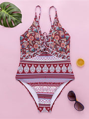 Ethnic Style Print One-Piece  Swimsuit