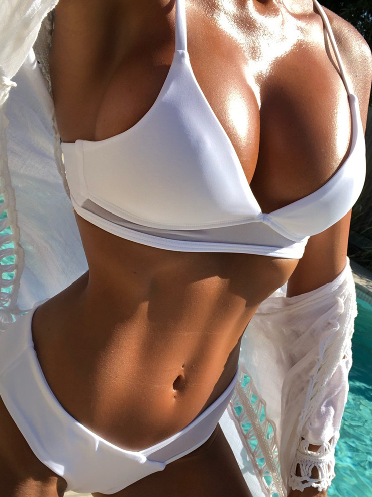 Pure White Mesh Cross Ladies Split Bikini