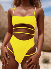 Bandage Solid Color One-Piece Swimsuit
