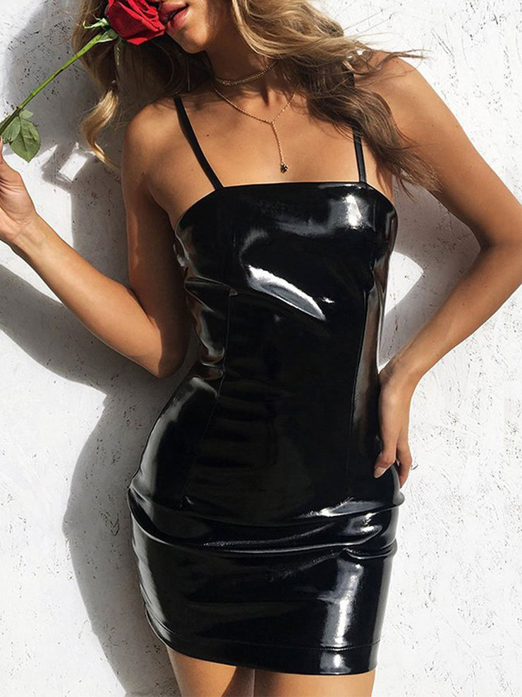 Black Sling Mini Was Thin Sexy Package Hip Bright Leather Evening Dress