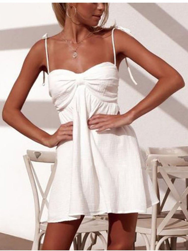 New Solid Color Halter Dress
