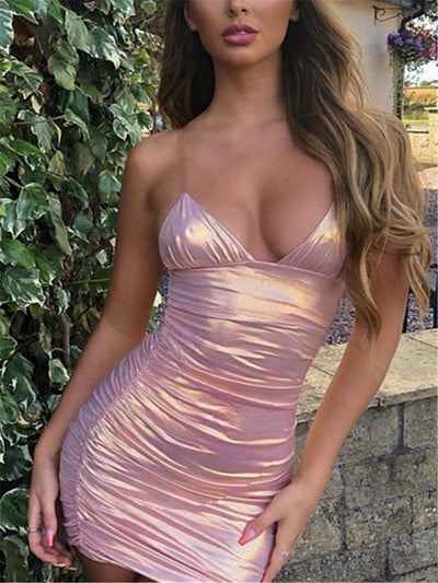 Sexy Strap Deep V Pure Color Pleated Mini Dresses