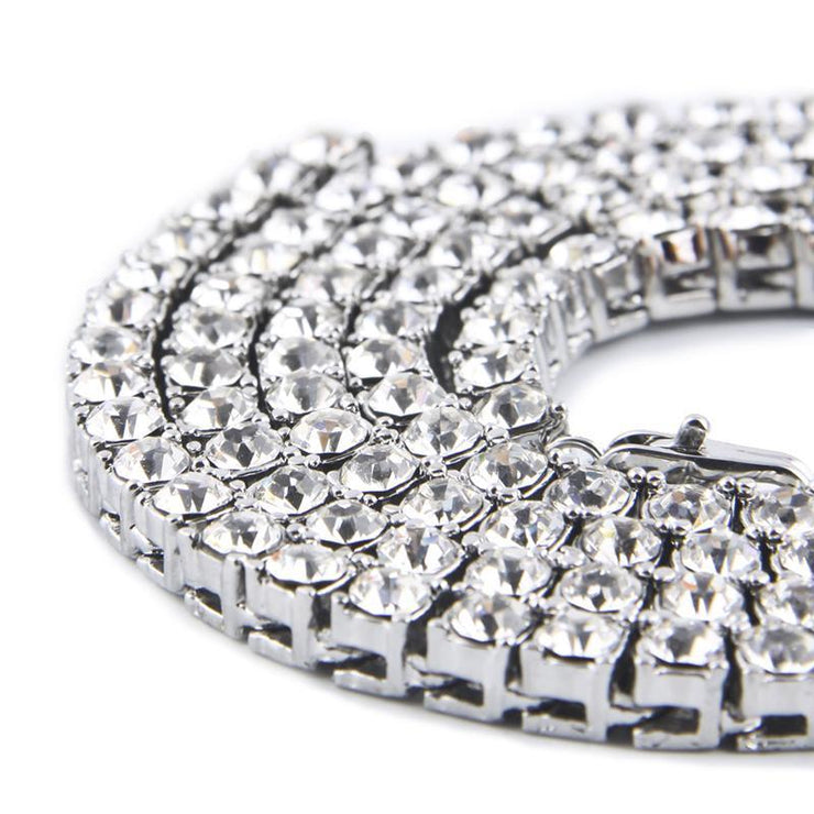 Men's Hip Hop 1 Row Alloy Necklace Full Rhinestone Single Row Necklace
