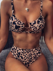 Women's Split Swimsuit Leopard Bikini
