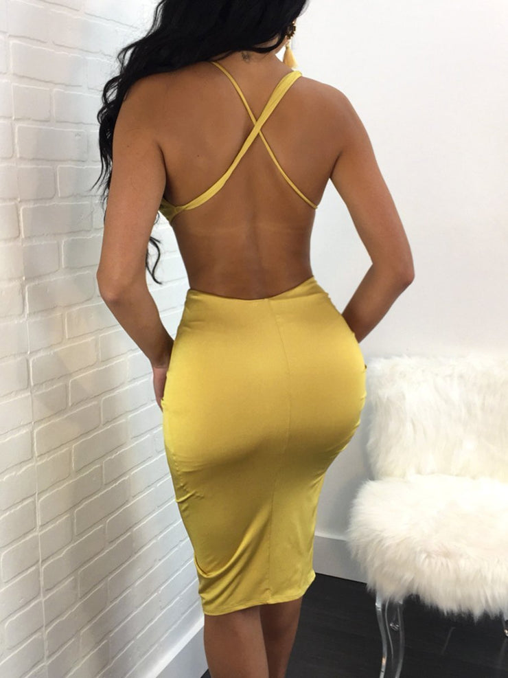 Solid Color Halter Backless Dress