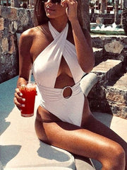 Open Back Neck Cutout Sexy One Piece Swimsuit