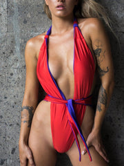 New One-Pieces Swimsuit Sexy Double Lace Up