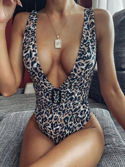 Sexy Leopard Belt One-Piece Swimsuit