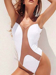 Plain Sexy Mesh One Piece Swimsuits