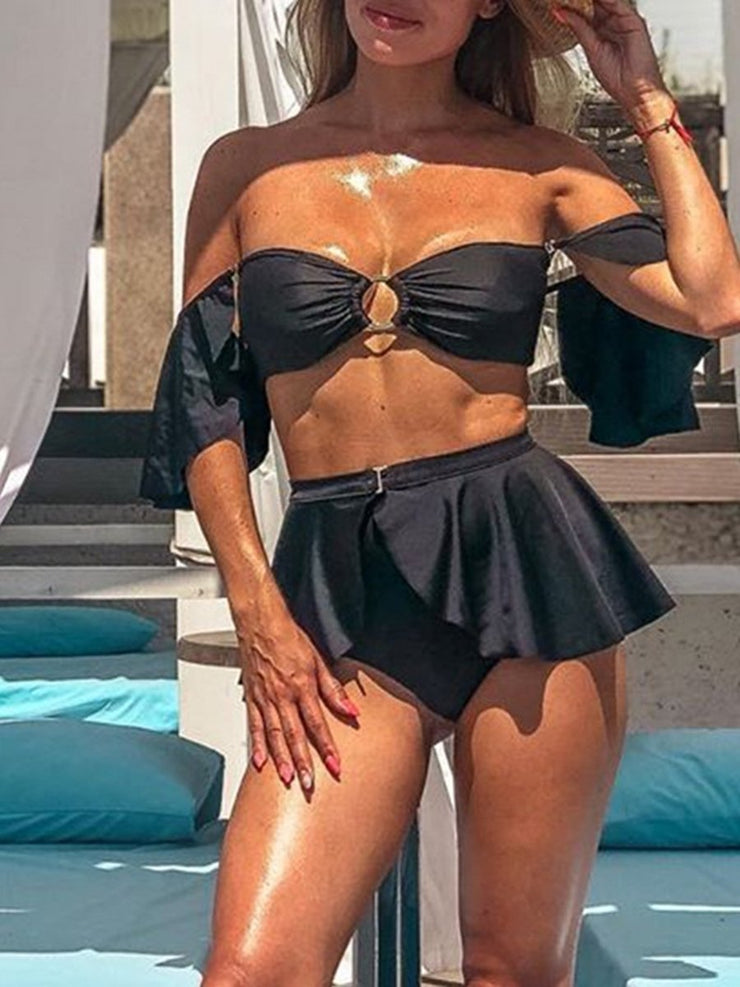 Sexy Bikini Chest Ring Bandeau Swimsuit