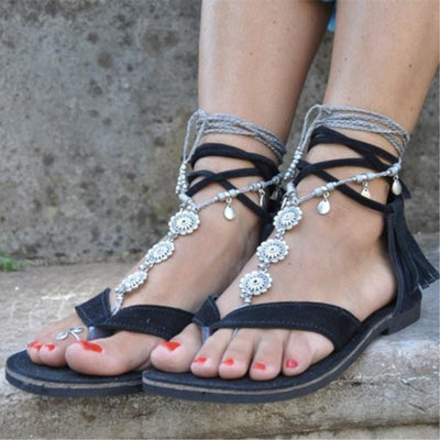 Roman Tassel Flat Lace-Up Boho Sandals
