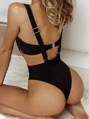 Trendy Solid Color Pit Sweater Bandeau Swimsuit