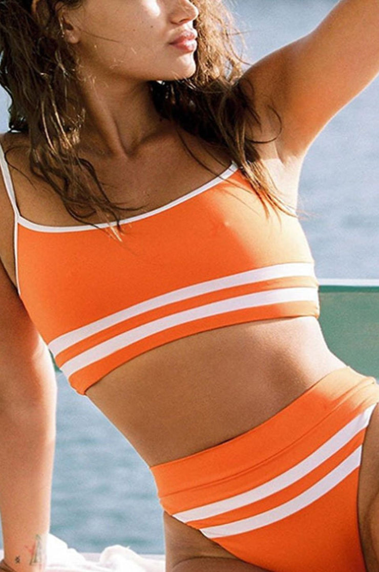 Women's Striped Stitching Bikini