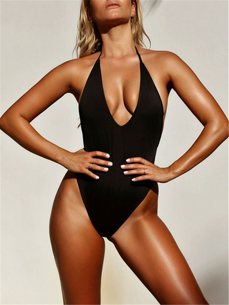 Sexy Fashion Solid Color Strap V Neck One Piece