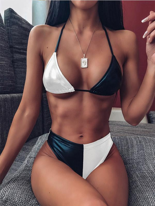 Sexy Halter Push Up Hit Color Bikinis Set Bathing Suits