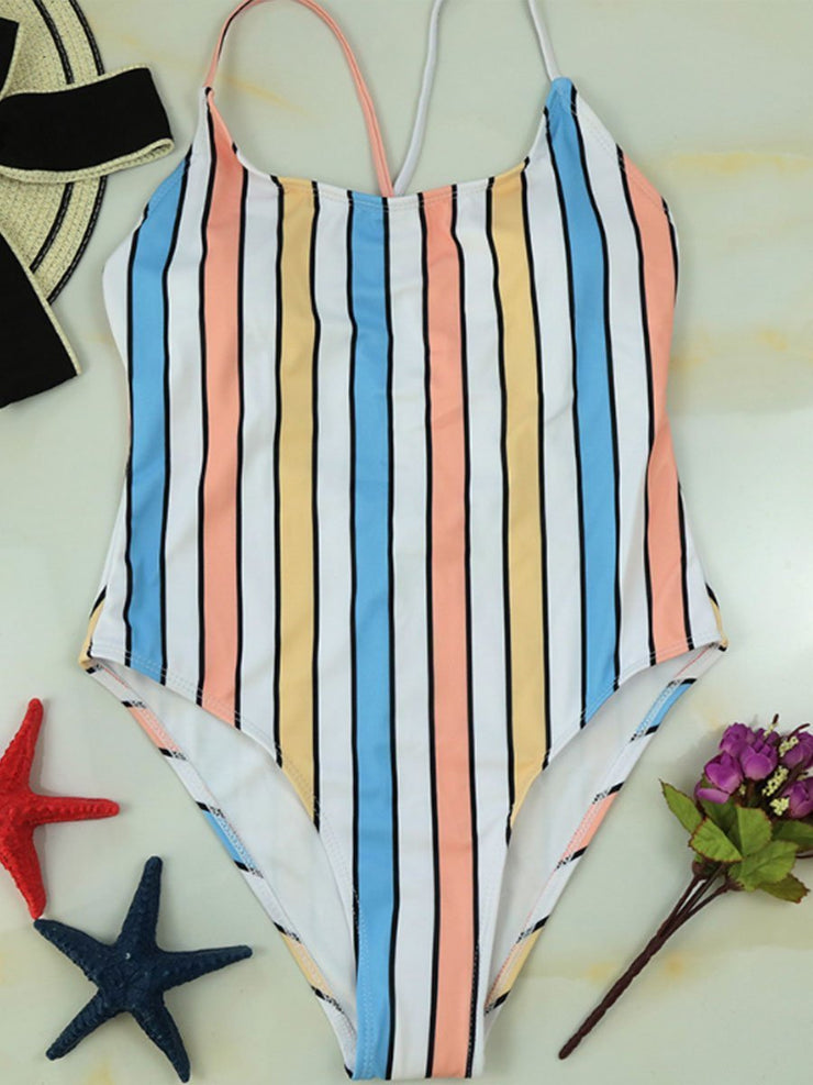 One-piece Striped Leaky Back Cross Straps Sexy Swimsuit