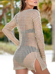 Sexy Fishing Net Cutout Beach Bikini Blouse