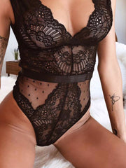 Stitching Mesh Deep V Seduction Thong Jumpsuit
