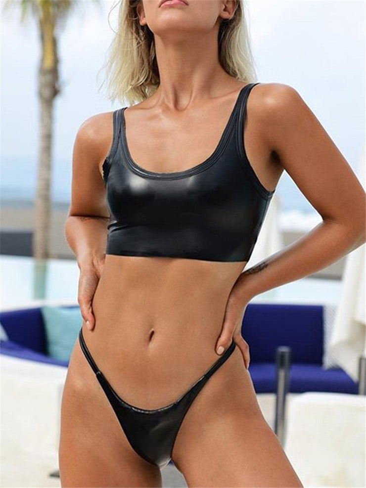 Sexy Solid Color PU Leather Bikini