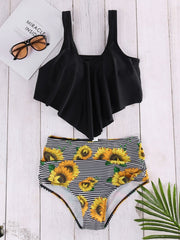 Black Random Sunflower Print Strips Padded Design Tankini